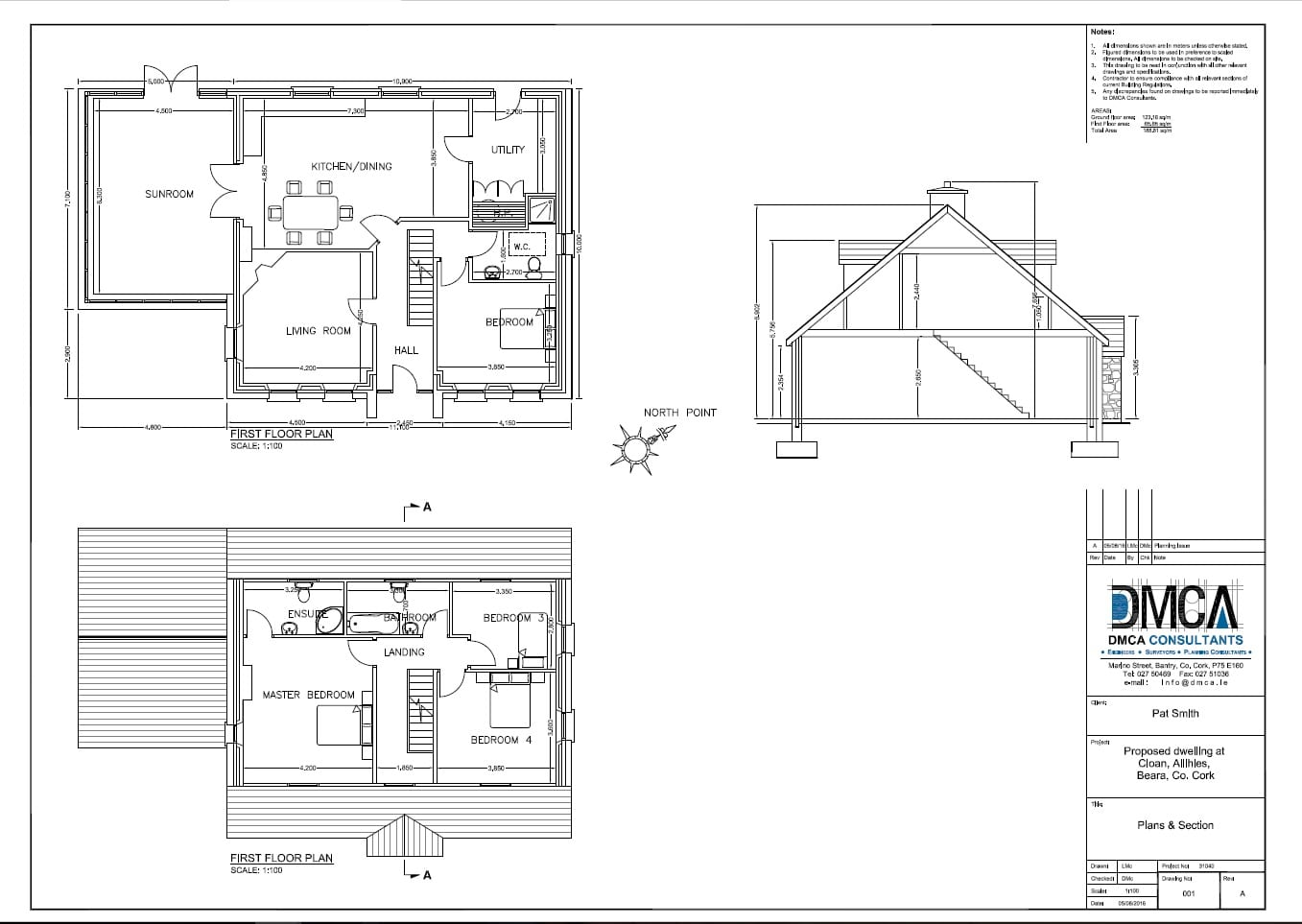 Floor Plans & Section Drawing